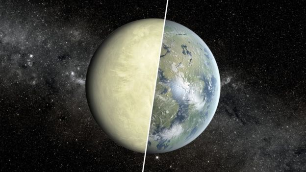 Graphic showing a non-habitable zone planet as dry and a habitable zone planet as rich with water and life