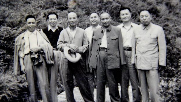 1958年7月,李锐(右二)在庐山会议