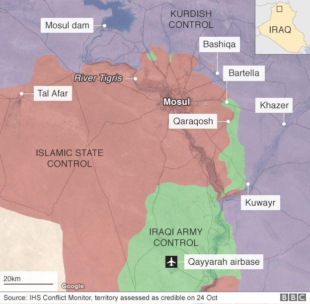 Map showing Iraqi and Kurdish advances on Mosul