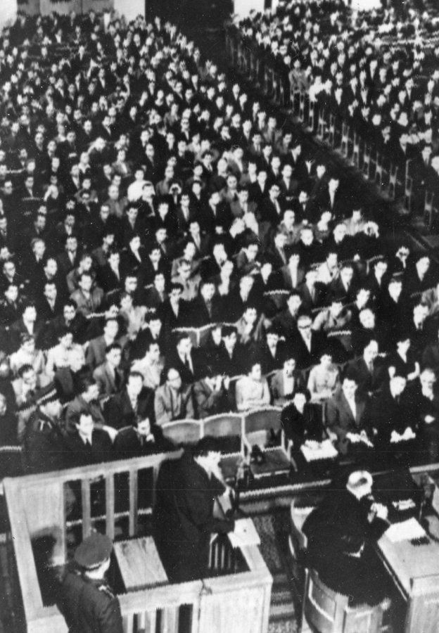 Francis Gary Powers in the dock in a packed Moscow courtroom