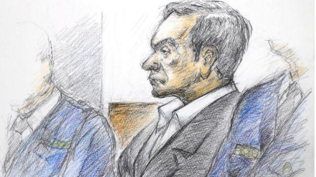 رسما توضيحيا لجلسة محاكمة غصن في يناير/كانون الثاني