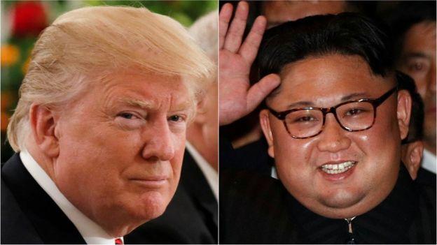 Donald Trump (L) y Kim Jong-un (R)