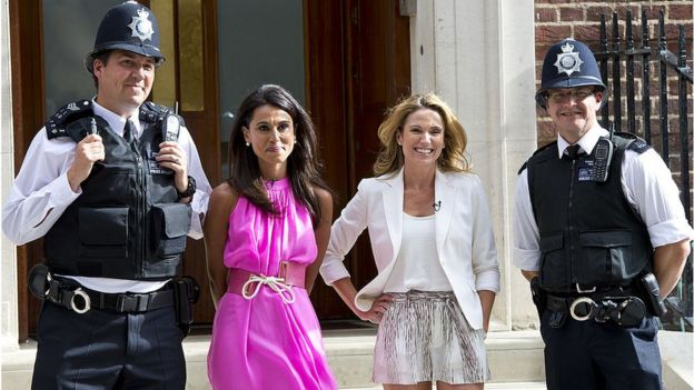 Ms Robach (second from right) was in London to cover the 2013 birth of Prince George