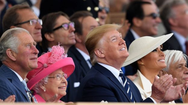 Mr Trump sat next to the Queen during the D-Day commemorations