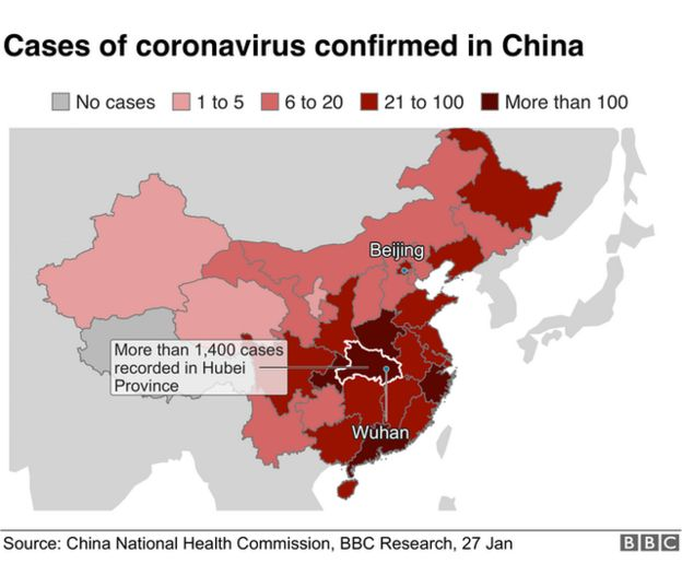 A map showing the virus spread in China