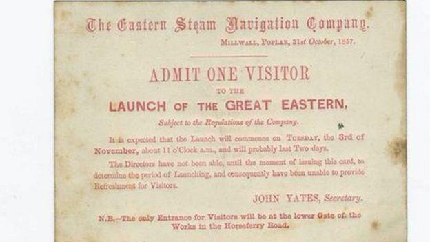 Entrada para presenciar la inaguración del barco Great Western de Brunel.