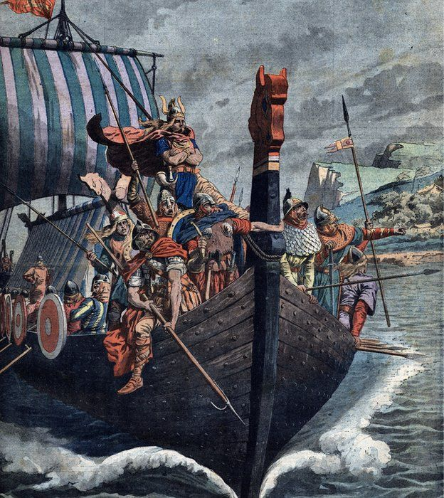 Vikingos en barco