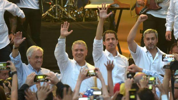 Sebastián Piñera, Iván Duque, Juan Guaidó y Mario Abdo.