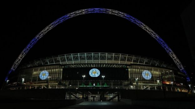 Wembley Stadium lit in Leicester colours