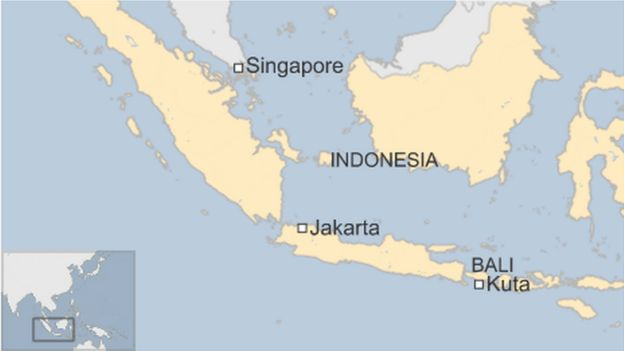 Map showing where Bali is