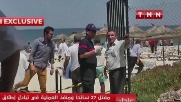 Tunisian TV images of the aftermath of the attack