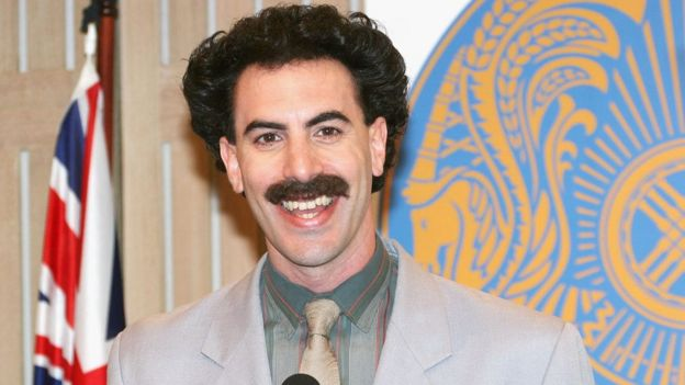 Actor Sacha Baron Cohen appears in character as Kazakh journalist Borat Sagdiyev at a press conference