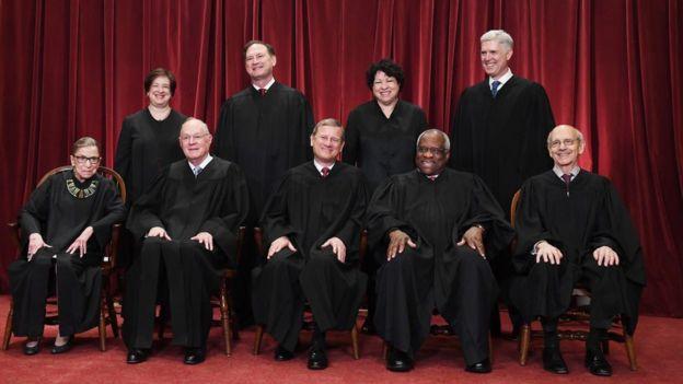Magistrados de la Corte Suprema de Estados Unidos.