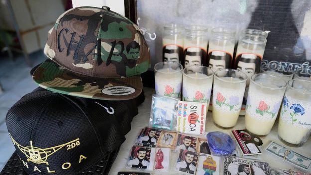 Merchandising del Chapo Guzmán.