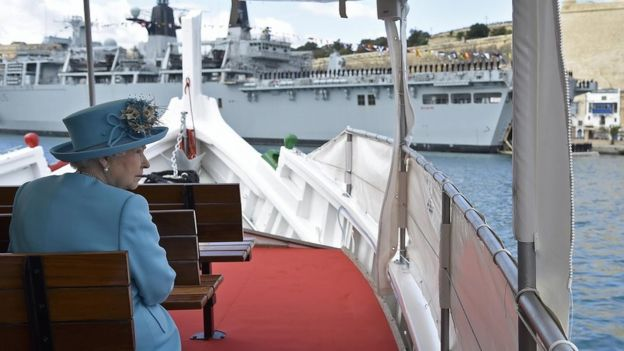 Queen Elizabeth II on board of a boat in Malta