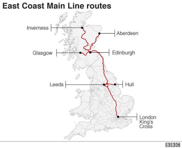 Map Of Uk East Coast.East Coast Train Line Back Under Public Control Bbc News