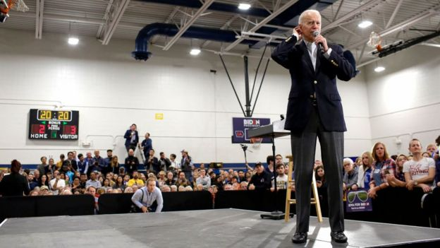 Democratic presidential candidate former Vice President Joe Biden speaks during a campaign event at Hiatt Middle School on February 2, 2020 in Des Moines, Iowa.