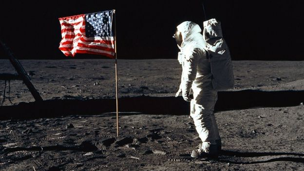 Buzz Aldrin with the US flag on the Moon on 20 July 1969