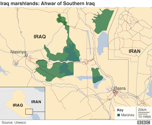 Map of Iraq marshlands