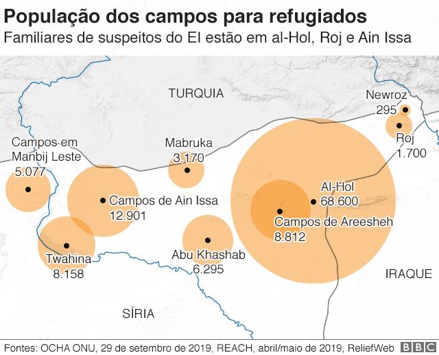 mapa dos campos de refugiados
