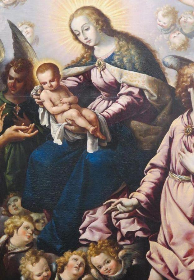 Un detalle de la aparición de José Juárez de la Virgen y el Niño a San Francisco.