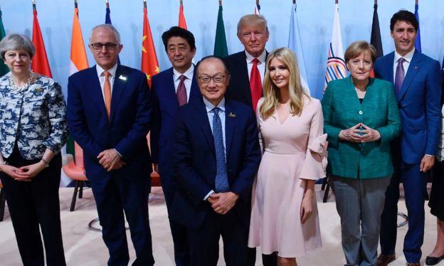 ایوانکا ترامپ در میان سران کشورهای گروه بیست در هامبورگ سال ۲۰۱۷