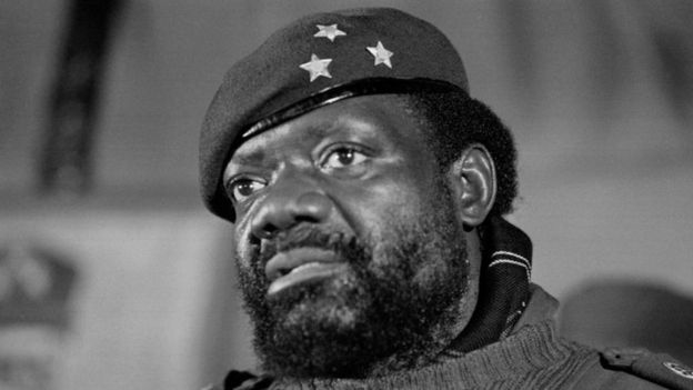 In this file photo taken on June 1, 1985 Angolan rebel chief Jonas Savimbi addresses soldiers in Jamb