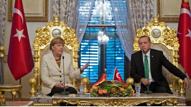 German Chancellor Angela Merkel and Turkish President Recep Tayyip Erdogan in Ankara on 18 October 2015