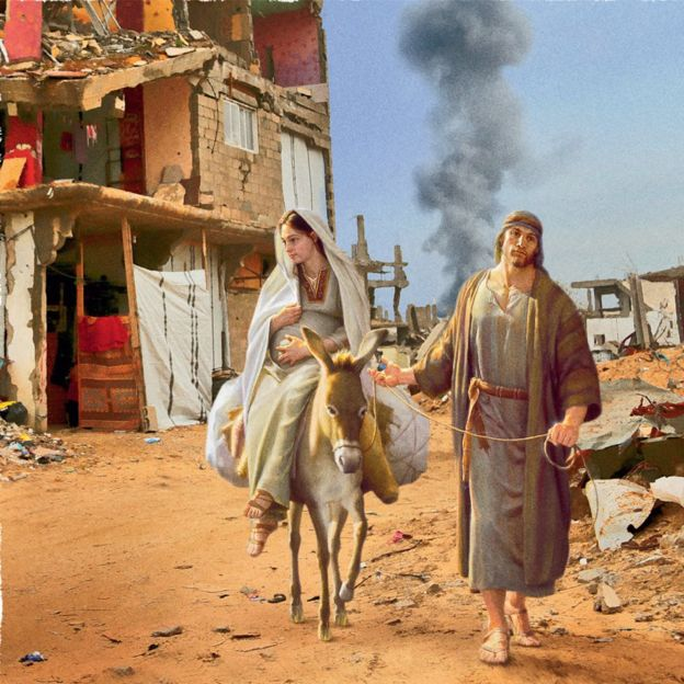 mary and joseph trying to escape destruction - Animal Charity Christmas Cards