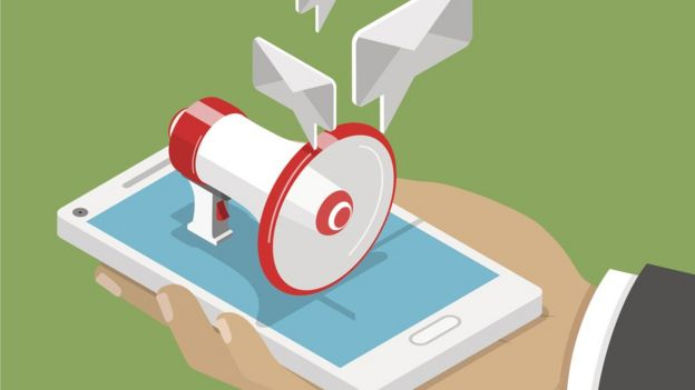 Illustration shows megaphone leaving phone and balloons that represent messages