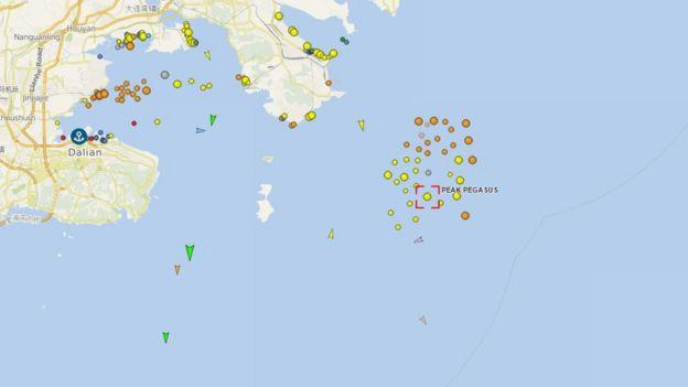 Mapa con la ubicación del carguero.