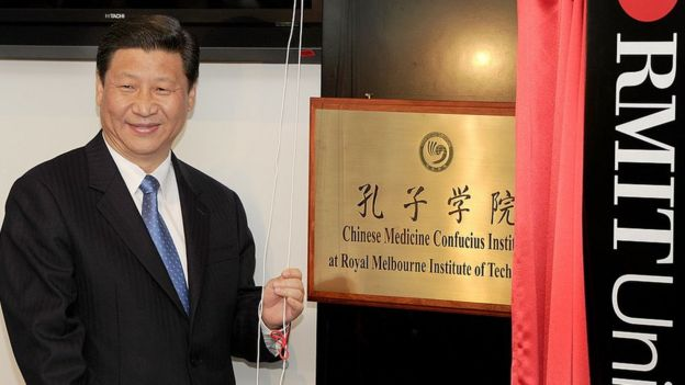 Chinese President Xi Jinping at the opening of the Confucius Institute at Melbourne's RMIT University in 2010