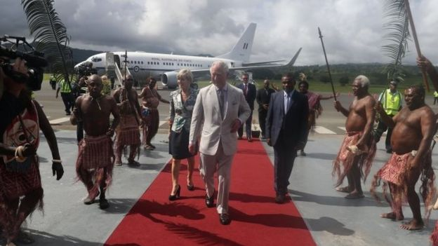 The Prince of Wales arrives at the airport on the South Pacific island of Vanuatu