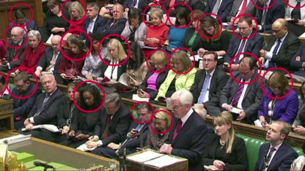 MPs using phones