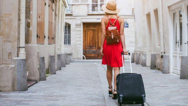 Female tourist abroad