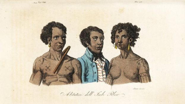 Natives of the island of Palau, including the tattooed King Abba-Thulle, from an 1844 engraving (Credit: Florilegius/Alamy)