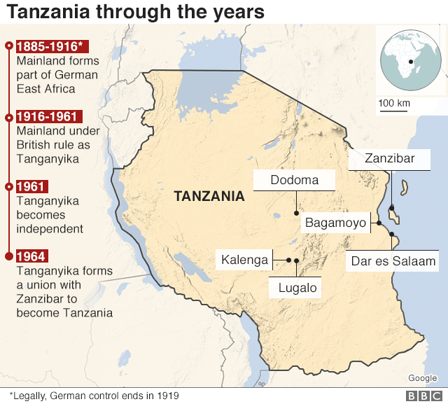 Map showing history of Tanzania