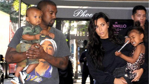 Kanye West and Kim Kardashian West and children