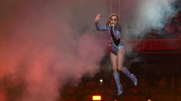 Lady Gaga performing at the Superbowl