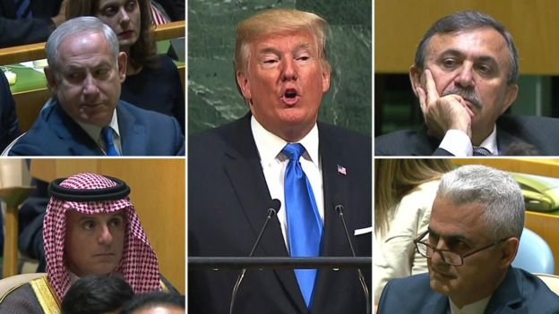 Clockwise from top left: Representatives from Israel, Syria, Iran, and Saudi Arabia listen to Mr Trump's speech