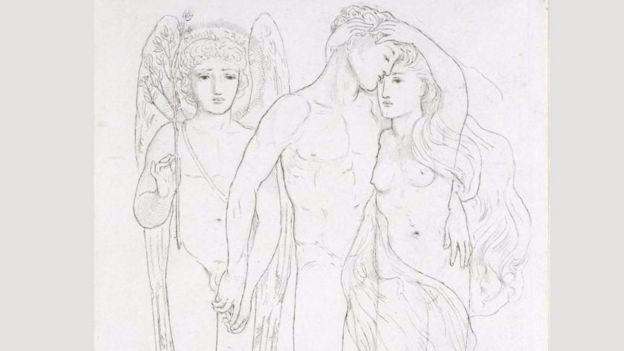 Tranh vẽ năm 1865 của Solmon 'Cô dâu, chú rể và tình yêu buồn', thuộc bộ sưu tầm cá nhân, là rõ ràng hơn các tác phẩm khác nhằm trưng bày trước công chúng