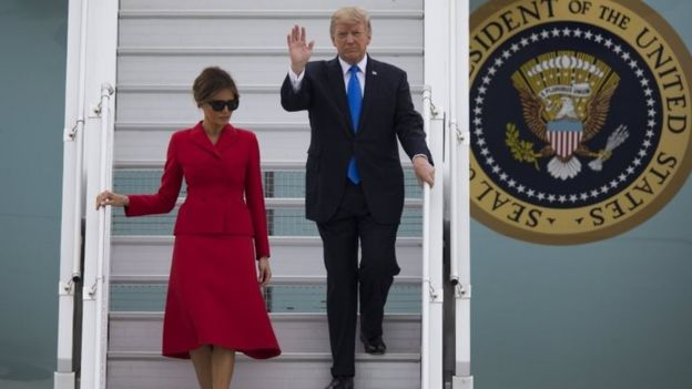 Melania and Donald Trump disembark Air Force One in Orly, near Paris on 13 July 2017.