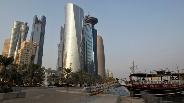 Buildings at the Doha Corniche, Qatar (30 August 2016)