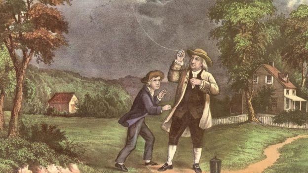 Una ilustración que muestra a Benjamín Franklin volando un papagayo junto a un niño.
