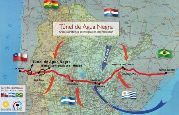 Mapa del corredor bioceánico