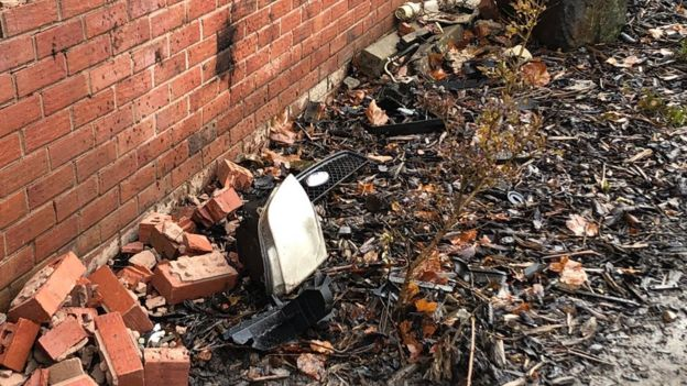 damaged wall in Burnage