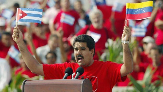 Nicolás Maduro en 2005 dando un discurso en La Habana, Cuba.
