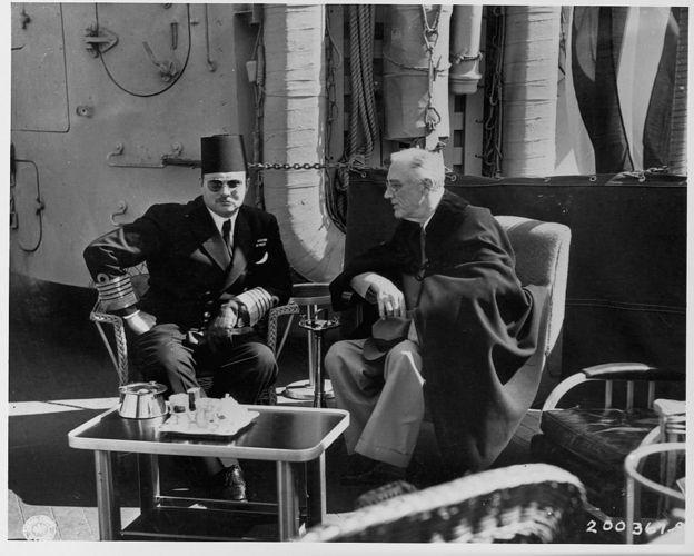 الملك فاروق والرئيس الامريكي روزفلت