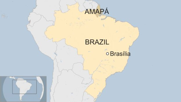 Map of Amapa in Brazil