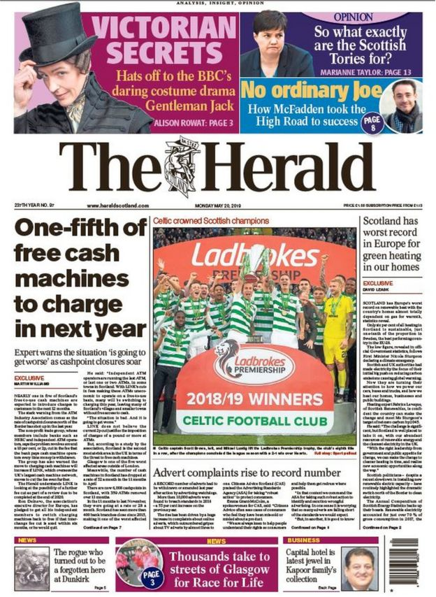 Scotland's papers: More ATMs to charge for cash withdrawals